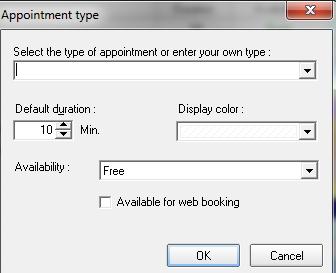 App Screen configuration box appt type