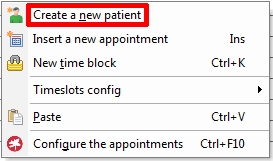 New Patient file Appointment Screen